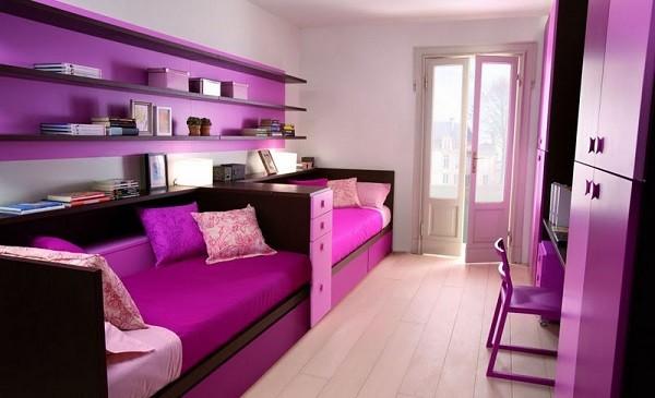 dormitorio jovenes purpura espacioso estanterias