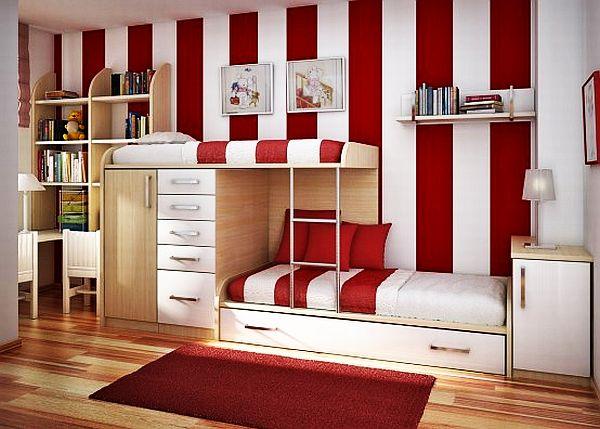 dormitorio jovenes rojo blanco para dos chicas