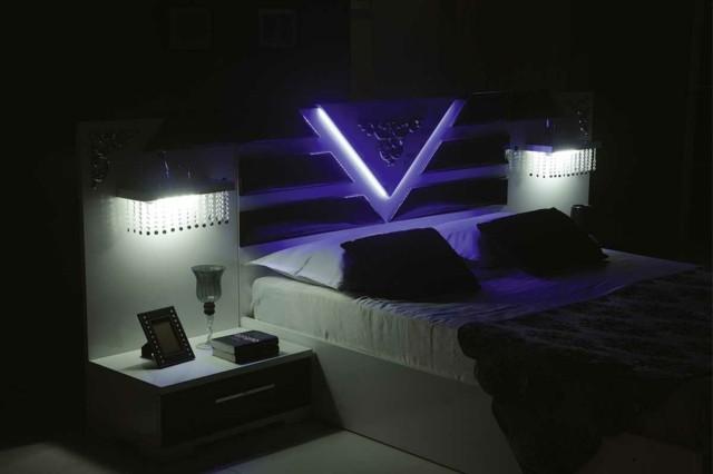 dormitorio bonitas lamparas led mesillas noche