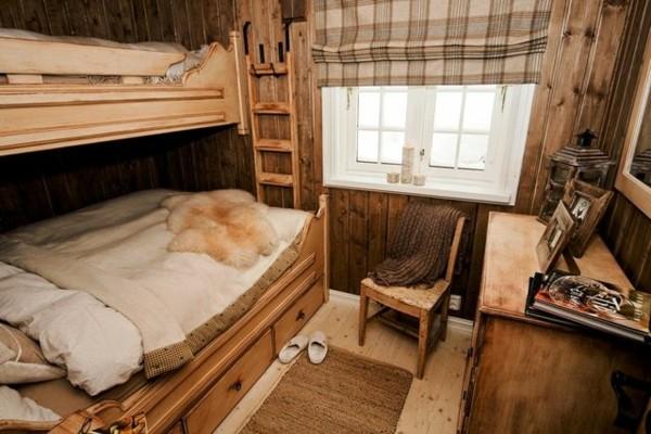 dormitorio literas cabaña madera rústica