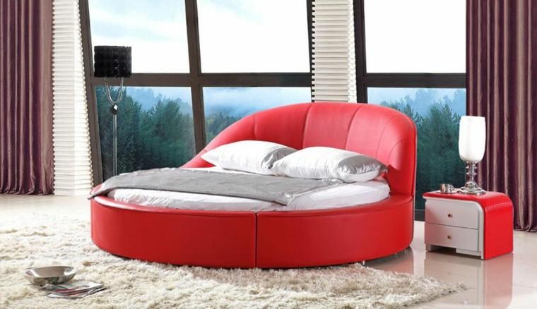 dormitorio lujoso cama roja redonda