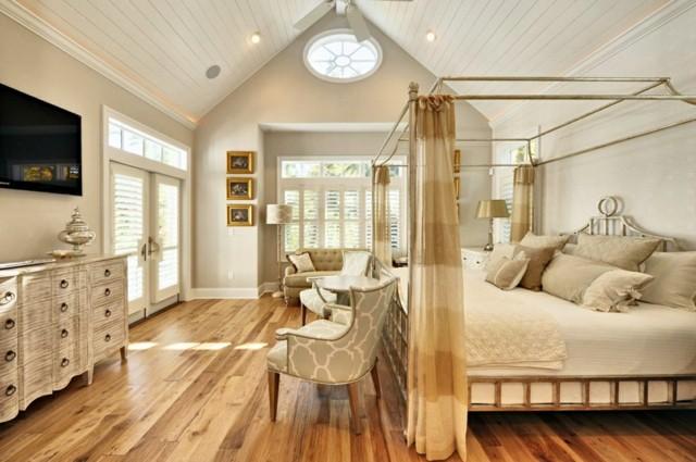 dormitorio luminoso blanco cama dosel grande idea