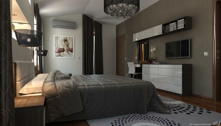 dormitorio moderno lampara clásica gris