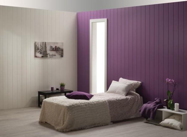 dormitorio moderno pared morada paneles