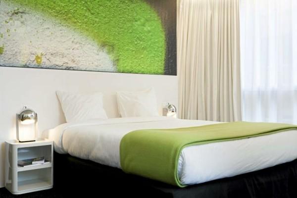 dormitorio moderno verde lima blanco