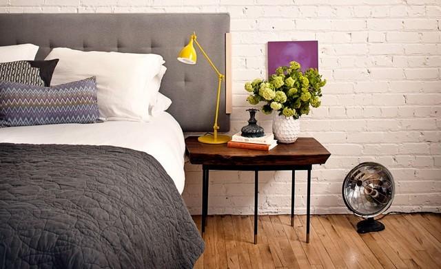 dormitorio pared blanca ladrillo idea bonito interesante