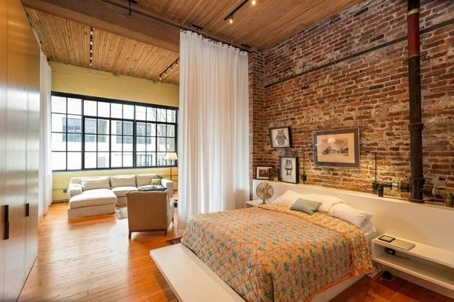dormitorio pared ladrillo cortina bonito salon