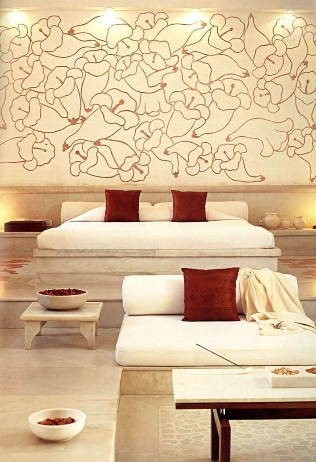 dormitorio romantico motivos florales pared moderno