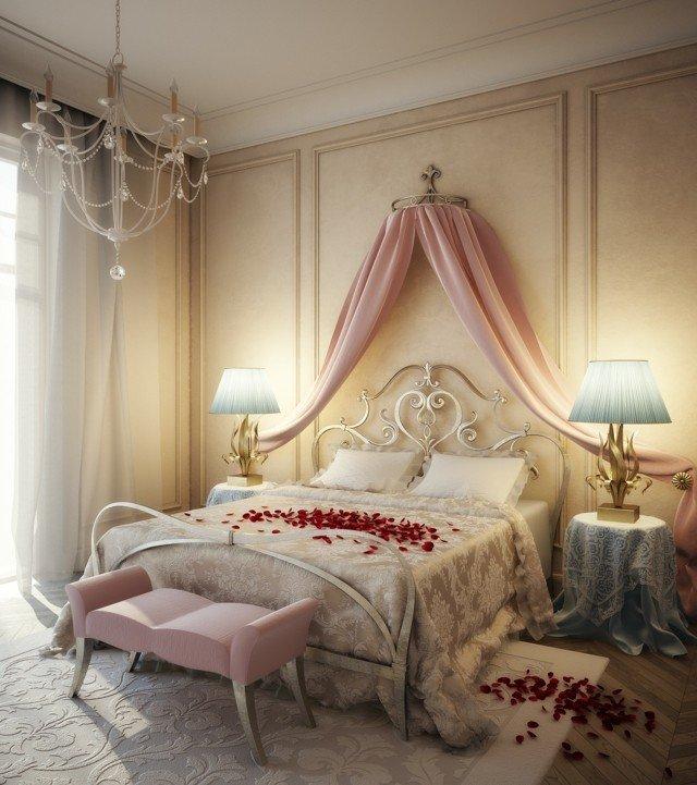 dormitorio romantico petalos rosa moerno color claros