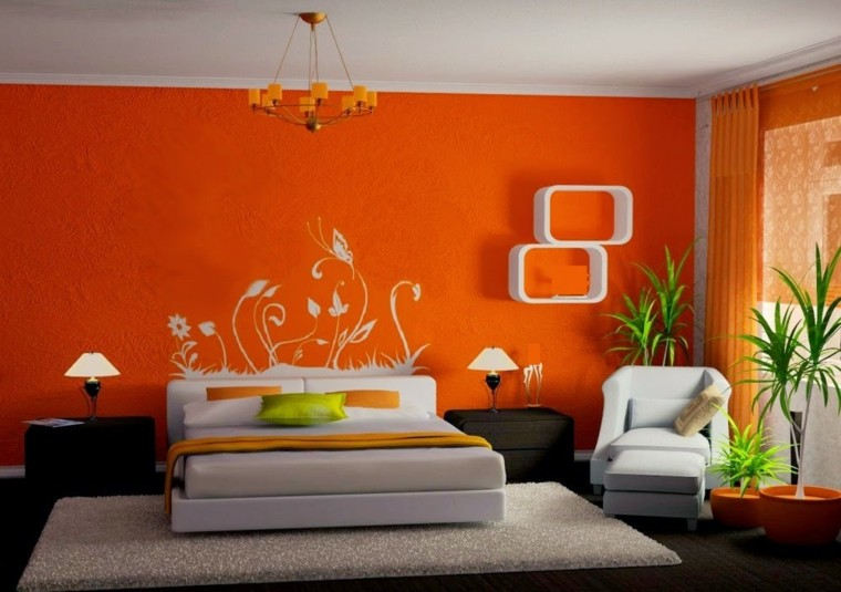 dormitorio super naranja pared plantas