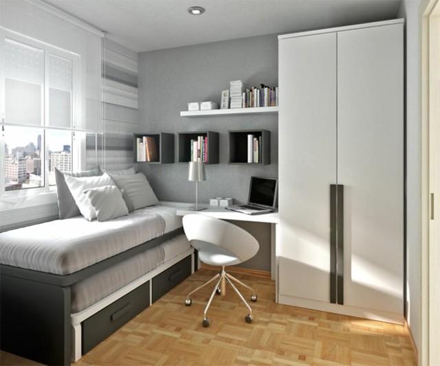 dormitorios modernos libros estantes silla