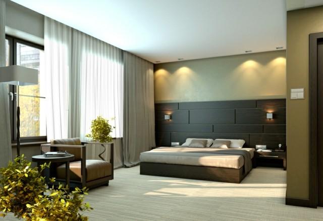dormitorios únicos cortina colores plantas