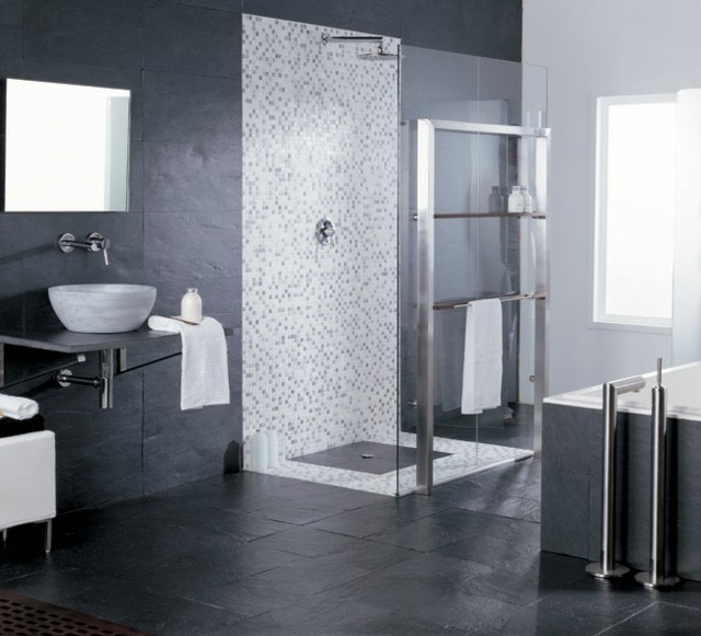 ducha baos azulejos moderno oscuro - Alicatado De Baos