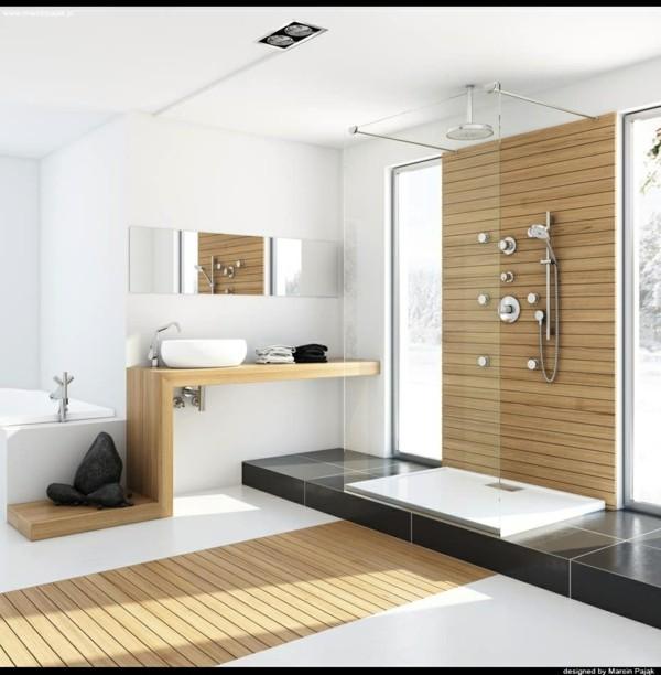 ducha tablas madera pared laminado