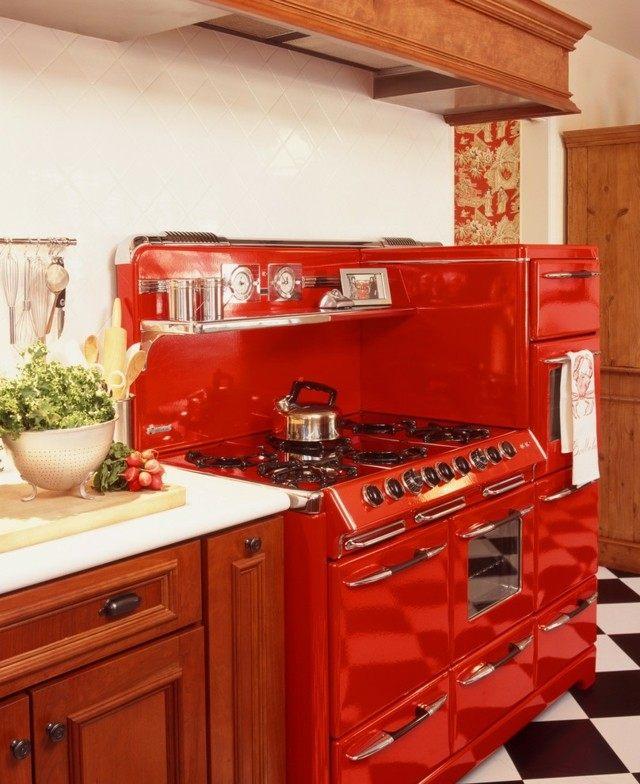 edtilo retro rojo horno cocina idea atrevida bonita