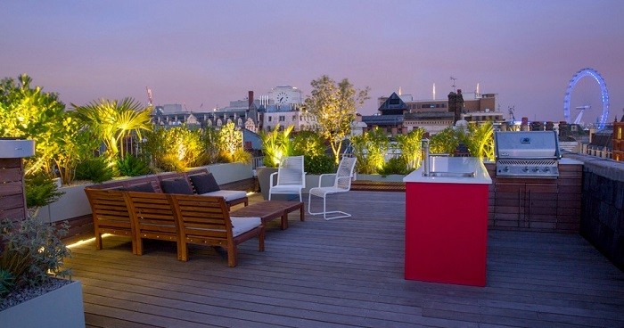 entretenimiento terraza muebles plantas moderno