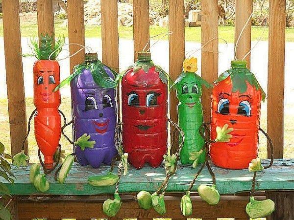 envases plasticos plantas pintura decorativos