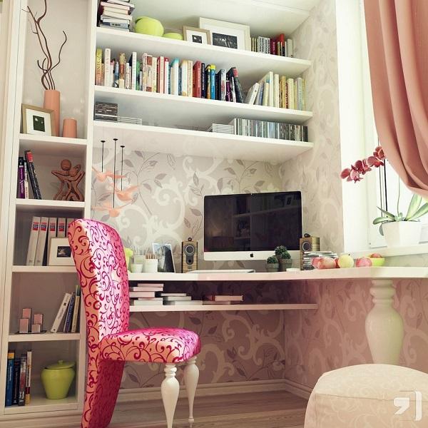 escritorio silla chic rosa blanco