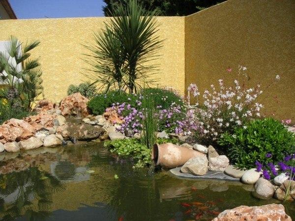 estanque lago flores jarra plantas