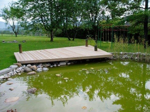 estanque pantano jardín plataforma madera