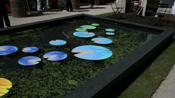 estanque piscina moderna negra adornos