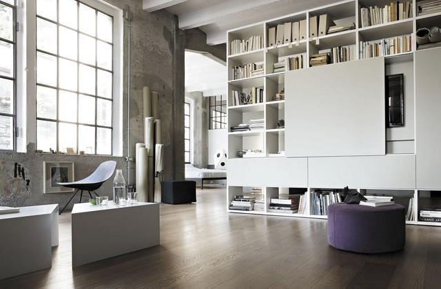 estanterias bajas suelo techo grande blanca moderna