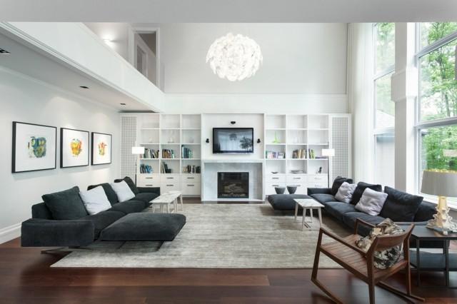 estanterias blancas sofa diseño negro salon moderno