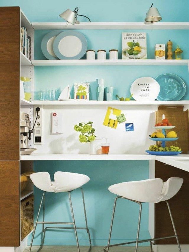 estanterias cocina azul claro retro estilo