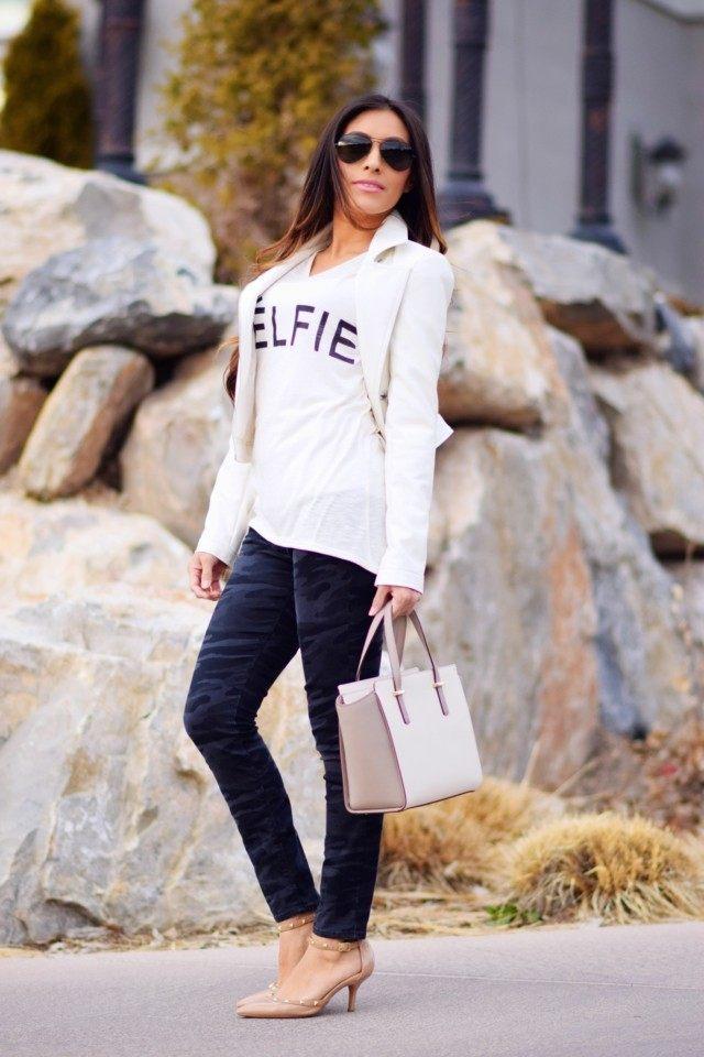 estilo casual blanco camiseta chaqueta bonita corta