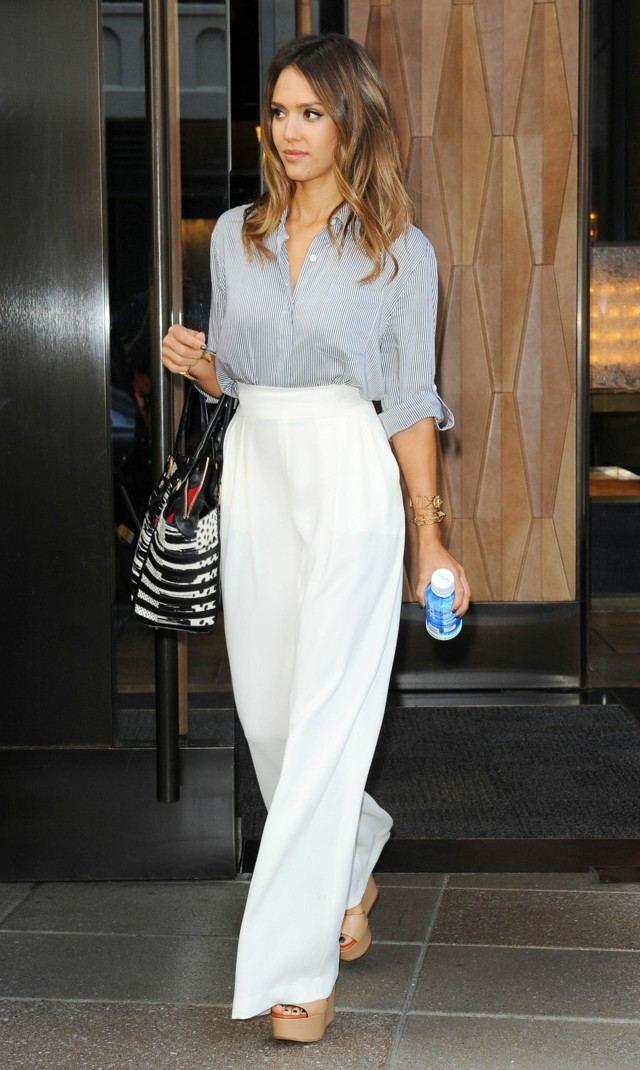 8 Pantalón ancho Mujer Blanco 97% Algodón, 3% Elastán UV Hecho en Italia Artículo de origen italiano, garantía de calidad y creatividad.