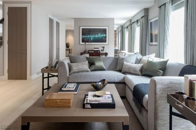 estilo clasico contemporaneo salon gris diseño moderno estrecho