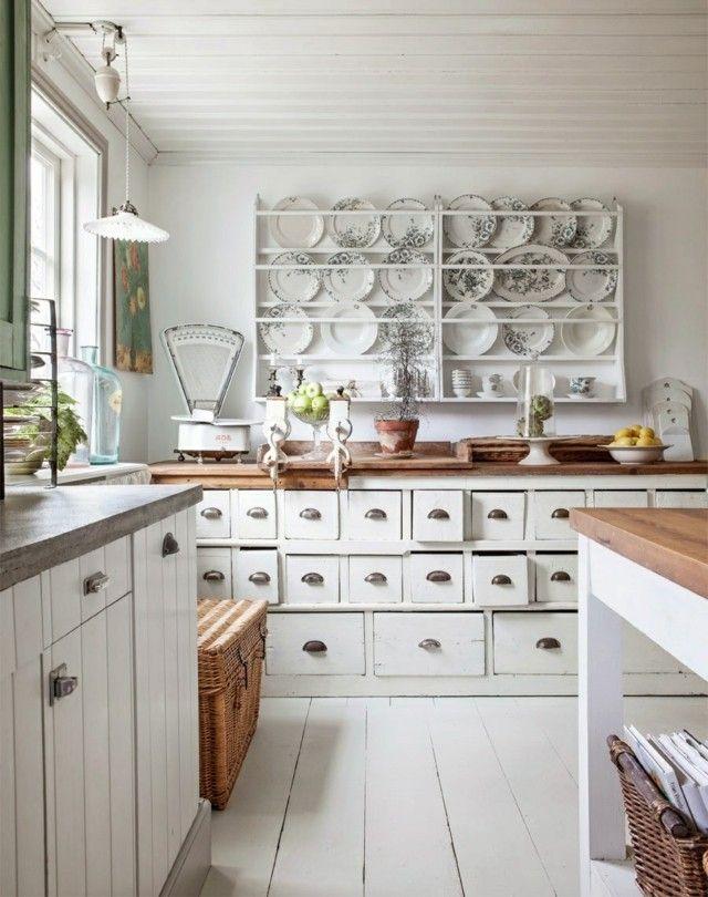 estilo cocina blancos muebles cestos estanteria bonita vajillas