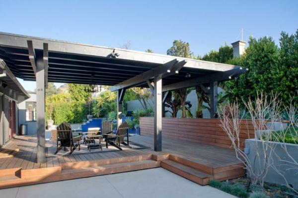 estilo contemporaneo jardin amueblado madera bonito