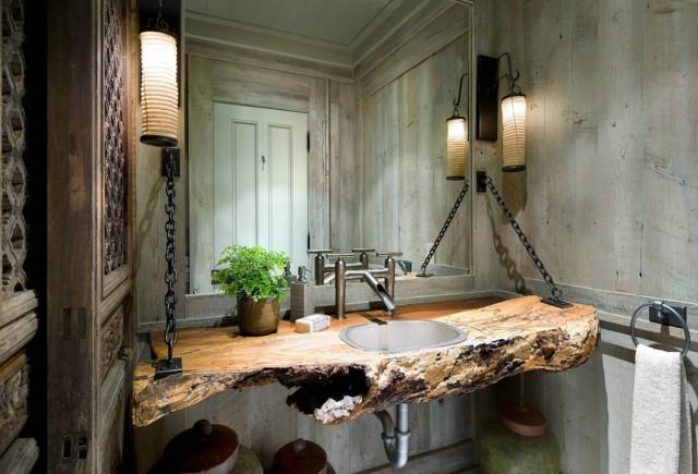 estilo rustico mesada lavabo madera idea interesante