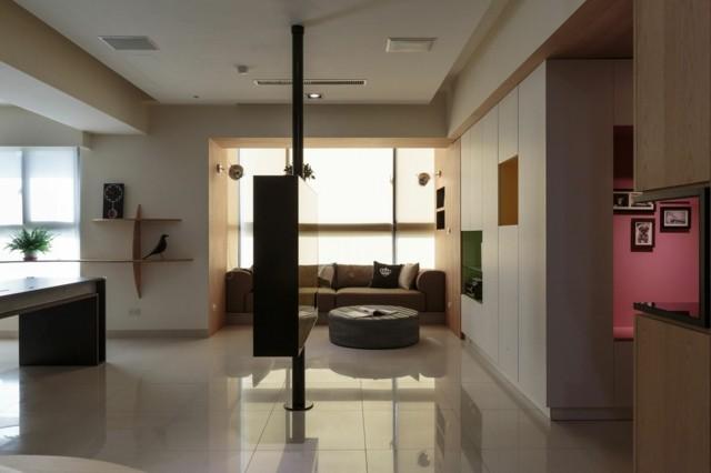 estilo salon moderno suelo reluciente blanco falta diseño decoracion