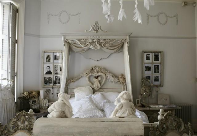 shabby chic dormitorio blanco amplio bonito