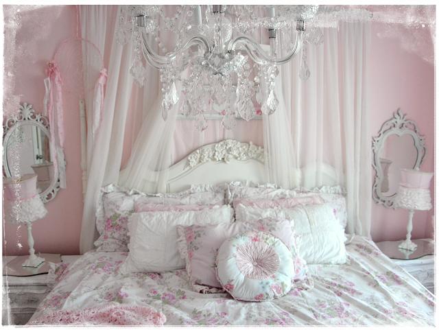 shabby chic dormitorio blanco rosa cama estilo
