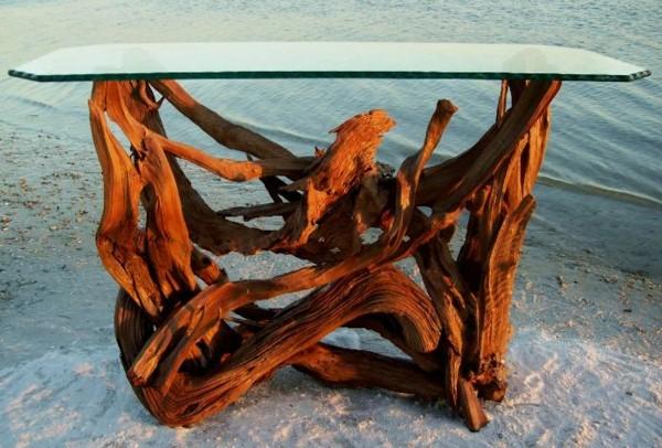 estupenda mesa madera flotante cristal
