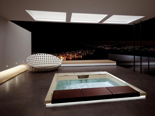 estupendas baldosas marrones piscina terraza