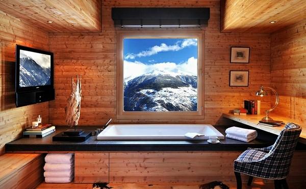 estupendo baño madera vistas montaña