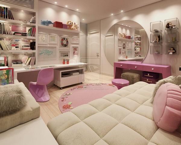 estupendo cuarto chica adolescente rosa