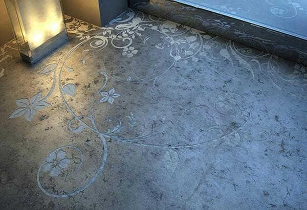estupendo suelo cemento grabados flores