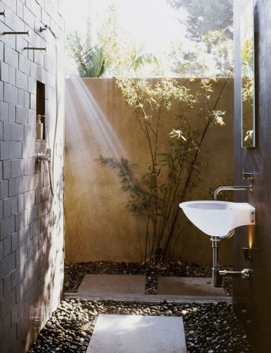 exterior baño decoracion plantas muebles