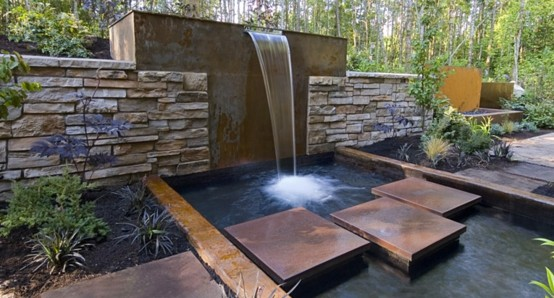 exterior cascada jardin piedras puente