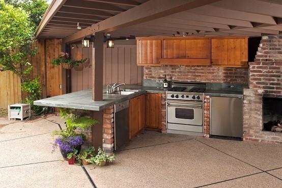 exterior cocina jardin flores techado