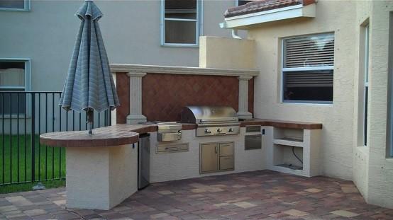 exterior cocina jardin sombrilla diseño patio