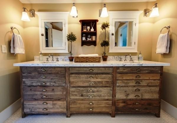 Diseno De Baños Para Fincas:baño de estilo rustico con muelbles de madera