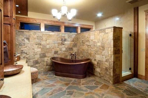 Tinas De Baño Decoradas:baño con estilo rustico tina marron