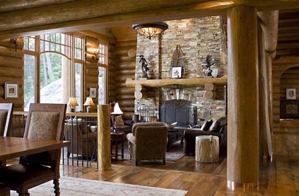 Diseno De Baños Para Fincas:salon rustico cosuelo de madera y pared de piedra
