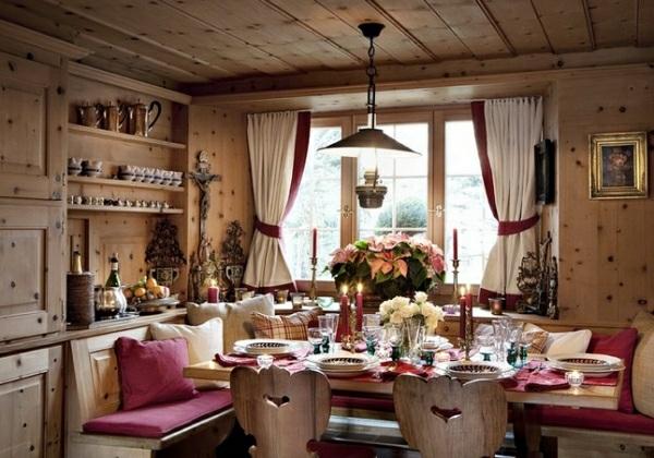 fincas rusticas comedor decoracion flores mesa
